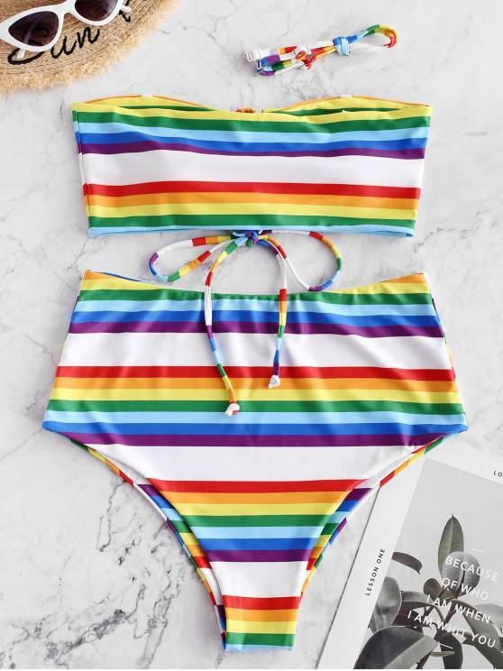 Costume da bagno ZAFUL Rainbow Striped Lace-up Bandeau Bikini - Multi Colori-A L