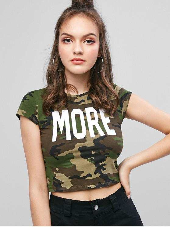 women's Letter Graphic Camouflage Crop Tee - ACU CAMOUFLAGE M