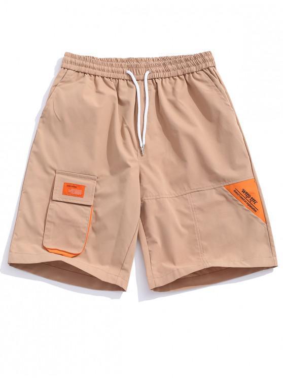buy Applique Flap Pocket Color Block Spliced Shorts - CAMEL BROWN XS