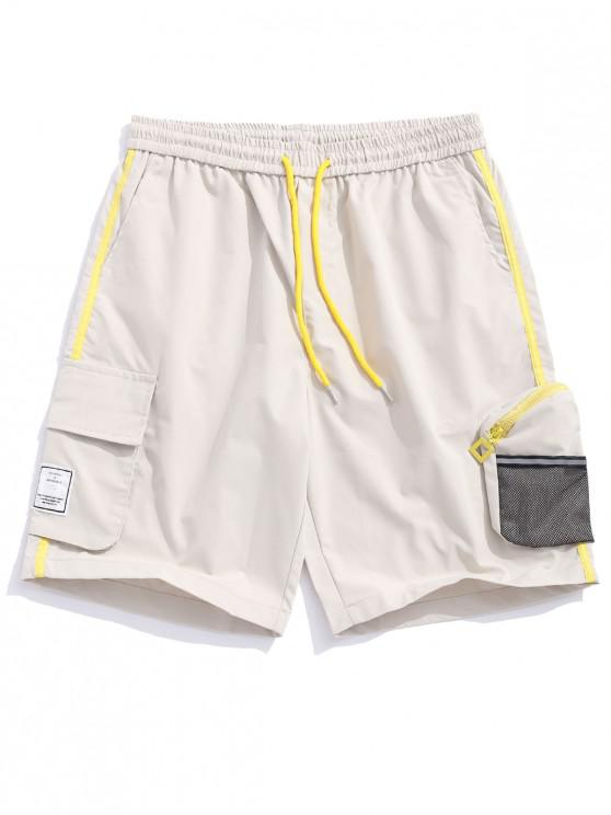 Side Mesh Pocket Color Block empalme pantalones cortos casuales - Blanco Frío S