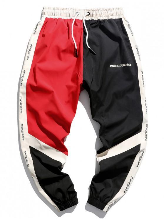 Jogger-Shorts mit Farbblockierendem Schriftzug und Grafikdruck - Rubin Rot M