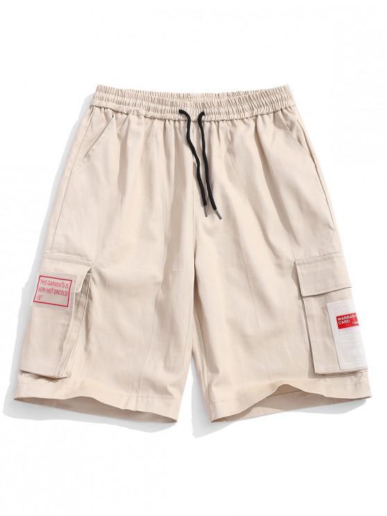 Einfarbige Shorts mit seitlicher Pattentasche - Rauchiges Grau M