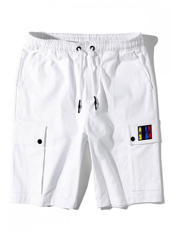 Боковой карман Графический принт буквы Шорты - Белый M