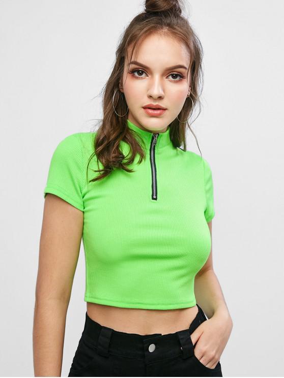 latest Half Zip Ribbed Neon Crop Tee - GREEN S