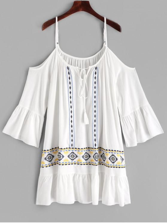 chic Tassels Cord Embroidered Cami Dress - WHITE S