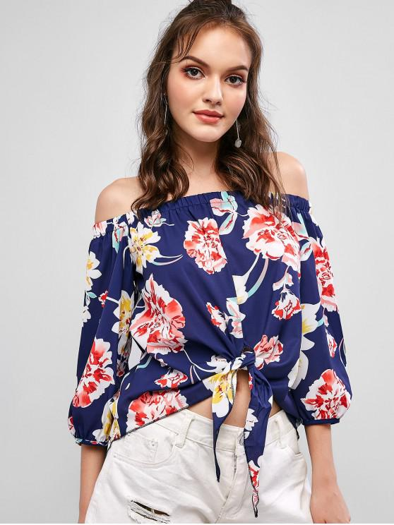 chic Off Shoulder Floral Print Knotted Blouse - DEEP BLUE M