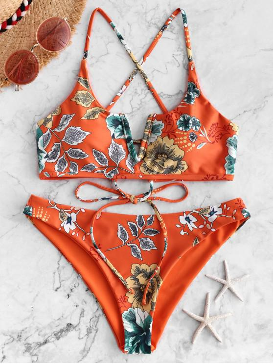 outfits ZAFUL Floral Leaf V-wired Crisscross Bikini Swimsuit - PAPAYA ORANGE S