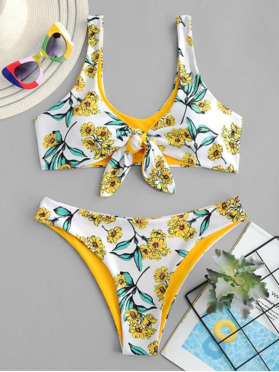 unique ZAFUL Reversible Floral Tied Tank Bikini Swimwear - WHITE S