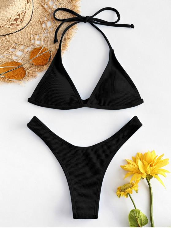 womens ZAFUL Ribbed High Leg Bikini Set - BLACK S