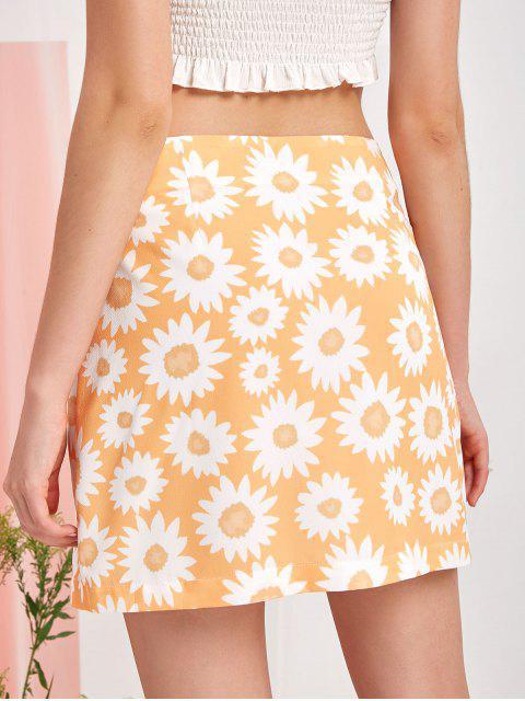 trendy ZAFUL Flower Print Slit Mini A Line Skirt - GOLDENROD S Mobile