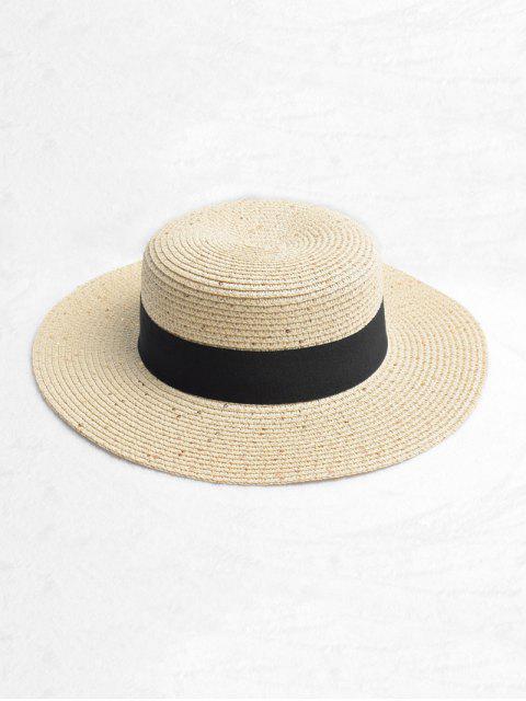 lady Round Strap Design Straw Sun Hat - BEIGE  Mobile