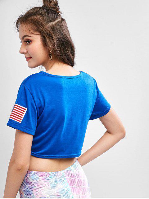 T-shirt Noué Lettre Graphique Drapeau Américain - Bleu Myrtille S Mobile