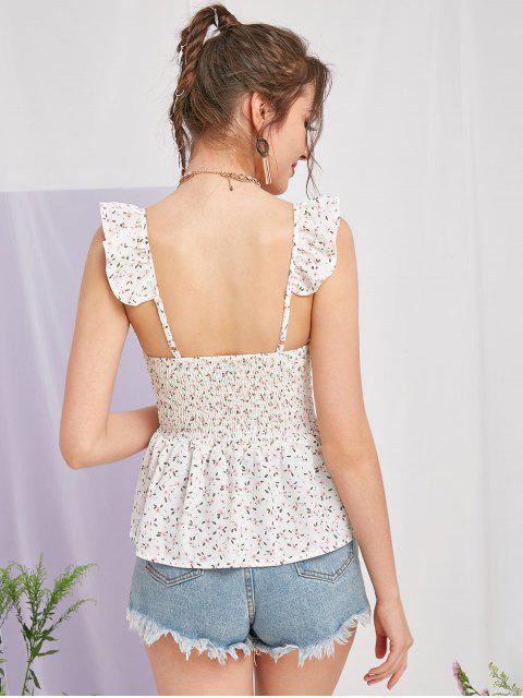Regata floral Ditsy com Franzido - Branco XL Mobile