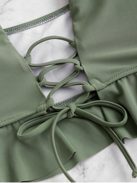 ZAFUL Maillot de Bain Tankini en Blocs de Couleurs Ourlet à Volants à Lacets - Vert Camouflage M Mobile
