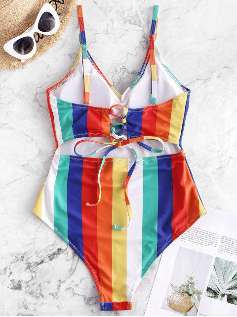latest ZAFUL Lace-up Rainbow Striped One-piece Swimsuit - MULTI-A S Mobile