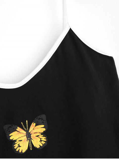 women's Contrast Cropped Butterfly Cami Top - BLACK M Mobile