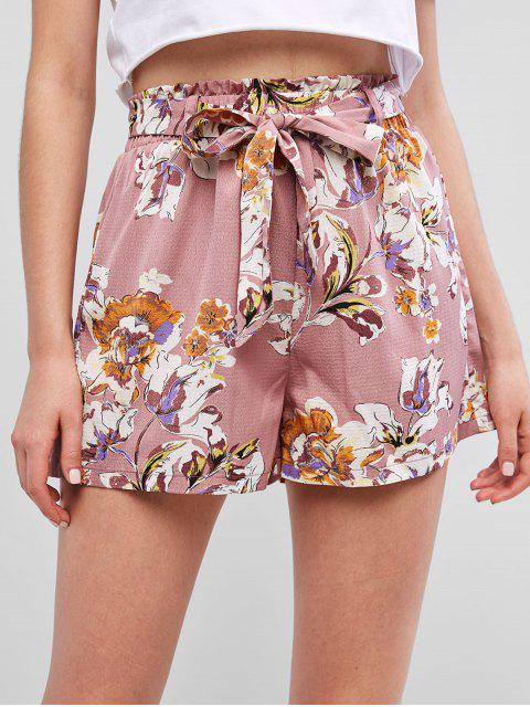 buy ZAFUL Belted Flower Print Paperbag Waist Shorts - LIPSTICK PINK S Mobile