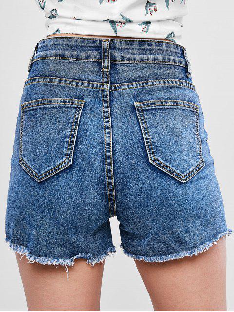 hot High Waisted Cuff Off Denim Shorts - DENIM BLUE L Mobile