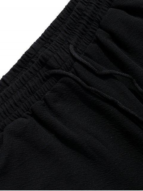 fancy Letters Print Color Block Panel Shorts - BLACK M Mobile