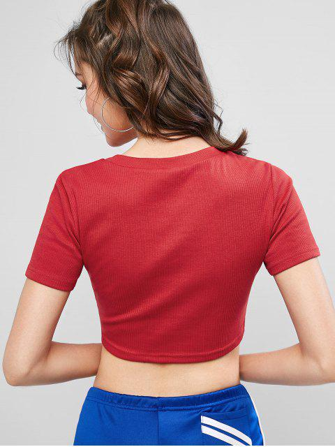 womens ZAFUL Ribbed Cropped American Flag Star Tee - RED XL Mobile