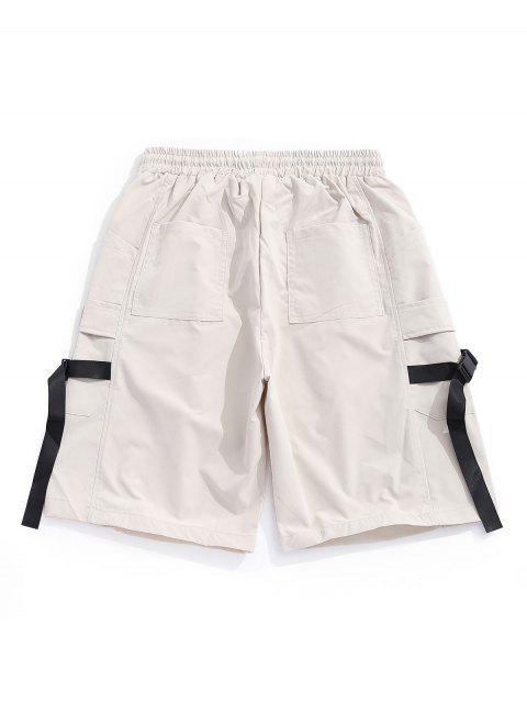 Hebilla Correa Applique Multi-bolsillo Casual Shorts - Caqui Claro XL Mobile
