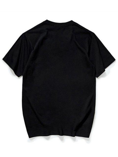 Camiseta de manga corta con estampado de letras chinas - Negro M Mobile