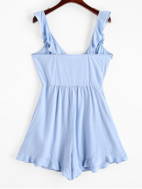 affordable ZAFUL Plunge Backless Ruffled Flounce Romper - PASTEL BLUE S Mobile