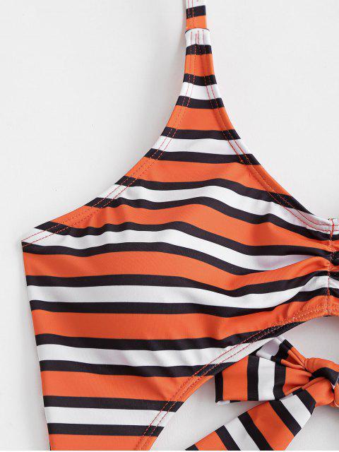 ZAFUL條紋領帶皺摺Monokini泳衣 - 多-A XL Mobile