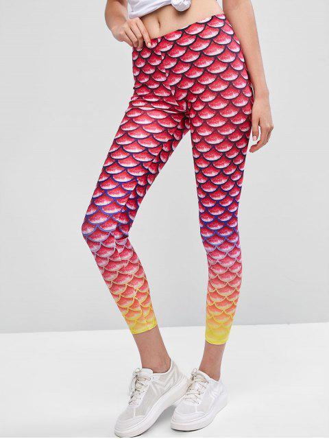 Leotardos de sirena de cintura media - Multicolor-A M Mobile