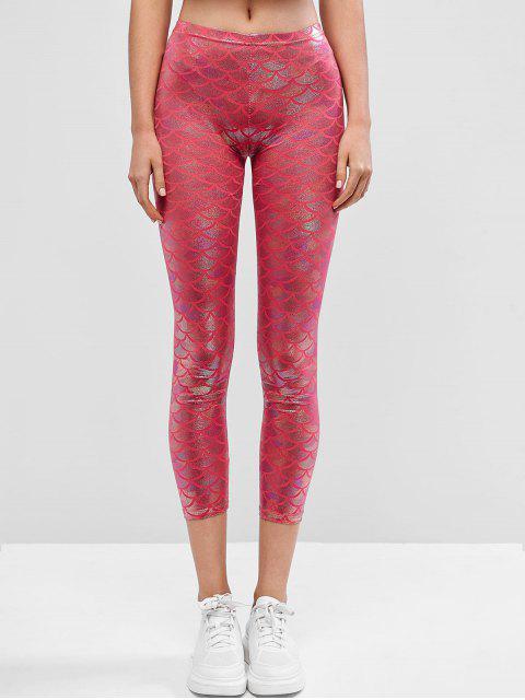 Leotardos de sirena con estampado de escamas metálicas de brillo - Rosa Oscuro XL Mobile