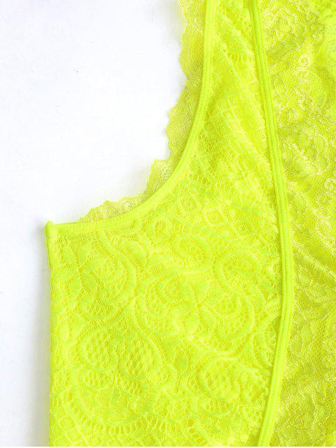 Body Lingerie Festonnée Plongeant en Dentelle - Vert Jaune S Mobile