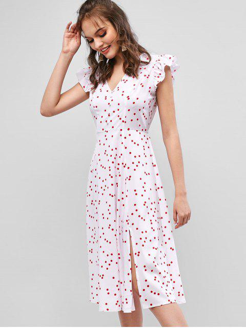 outfit ZAFUL Ruffle Armhole Polka Dot Slit A Line Dress - WHITE S Mobile