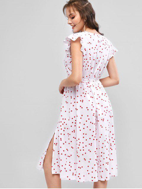 new ZAFUL Ruffle Armhole Polka Dot Slit A Line Dress - WHITE M Mobile