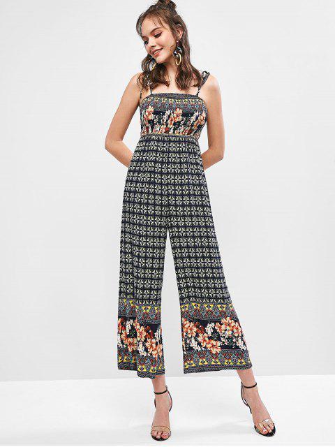 outfits ZAFUL Bohemian Print Tie Shoulder Wide Leg Jumpsuit - MULTI S Mobile