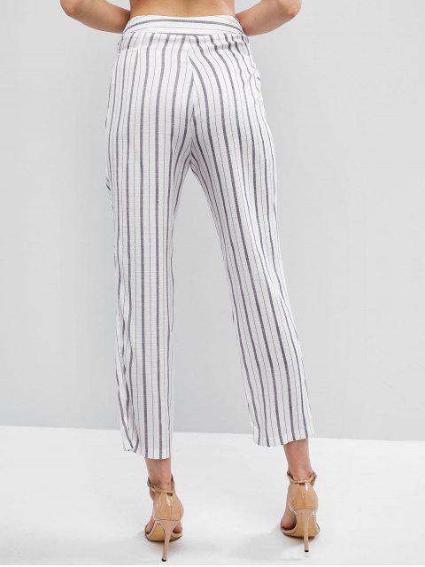 ZAFUL Pantalon Droit Rayé à Taille Haute à Cordon - Blanc M Mobile