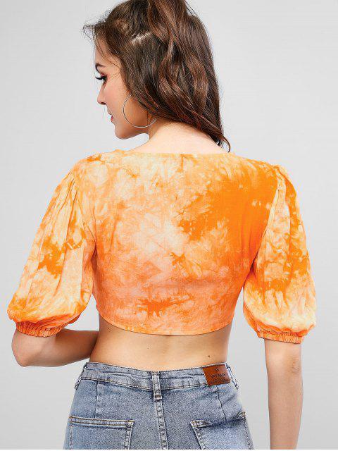 shop ZAFUL Tie Front Tie Dye Cropped Blouse - LIGHT SALMON S Mobile