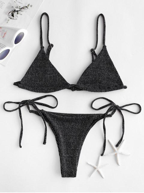 ladies ZAFUL Glitter Bralette String Bikini Swimsuit - MULTI-A S Mobile