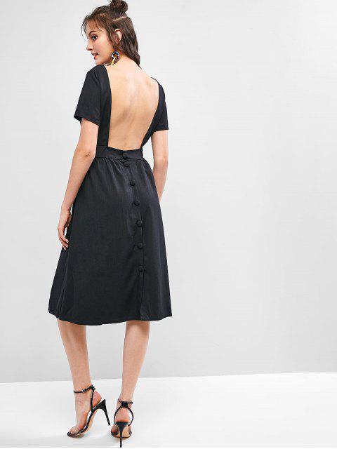 Robe Sans Dos avec Bouton en Couleur Unie avec Poche - Noir M Mobile