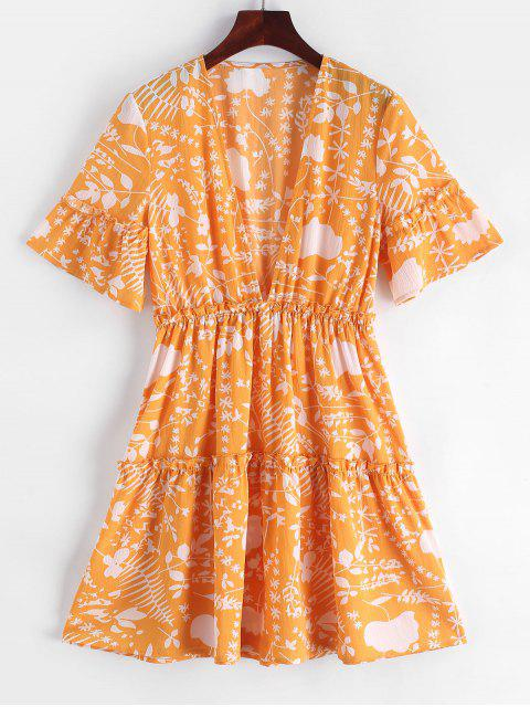 latest ZAFUL Low Cut Frilled Printed A Line Dress - BEE YELLOW M Mobile