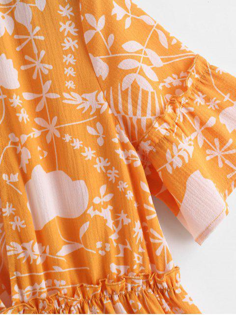 ZAFUL Robe Ligne A Imprimée à Coupe Basse à Volants - Jaune d'Abeille M Mobile