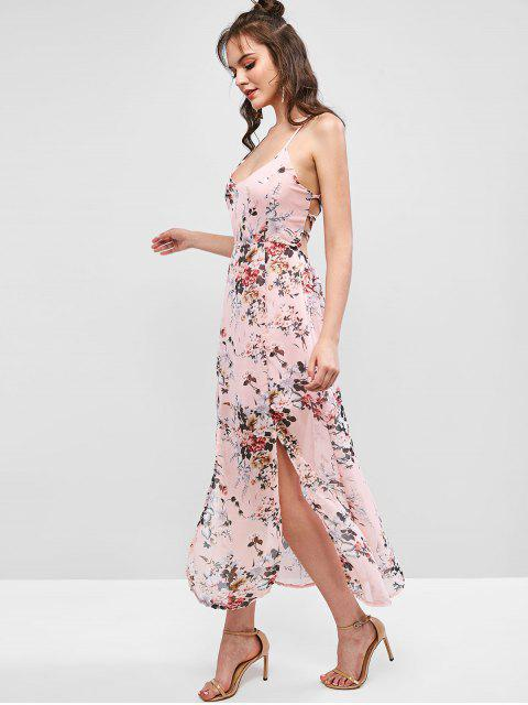 new Floral Criss Cross Lace Up Slit Maxi Dress - LIPSTICK PINK M Mobile