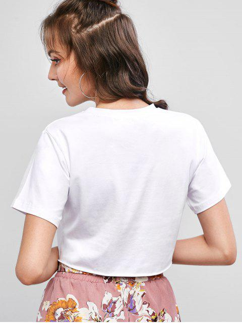 shop Raw Hem Butterfly Embroidered Cropped Tee - WHITE S Mobile