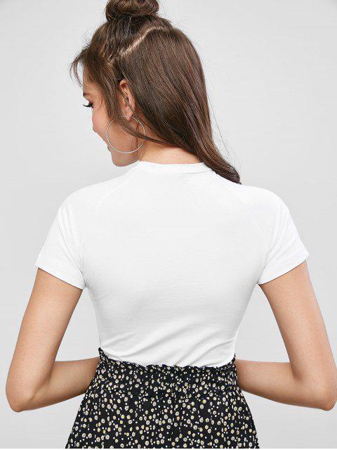 T-shirt court graphique avec lettre floral - Blanc M Mobile