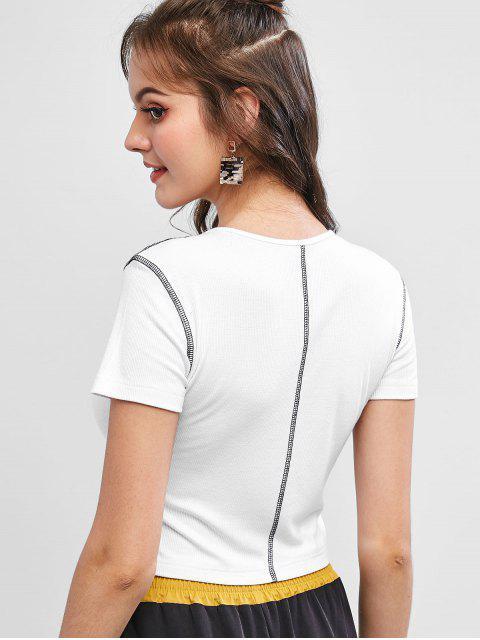 T-shirt Court Côtelé Cousu - Blanc M Mobile