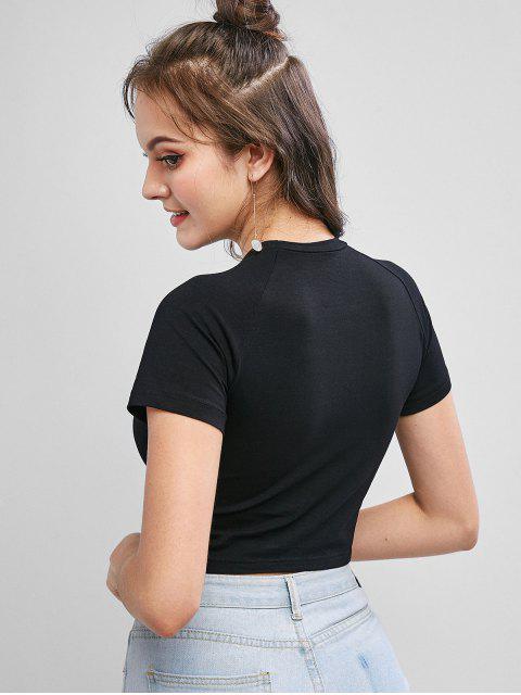 T-shirt de Base Court Lettre Graphique Fleuri - Noir M Mobile