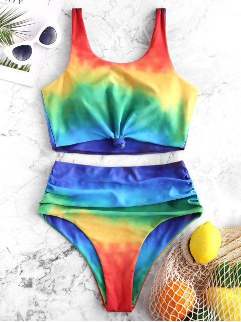 ZAFUL Tankini de Tie-dye con Nudo - Multicolor-A S Mobile
