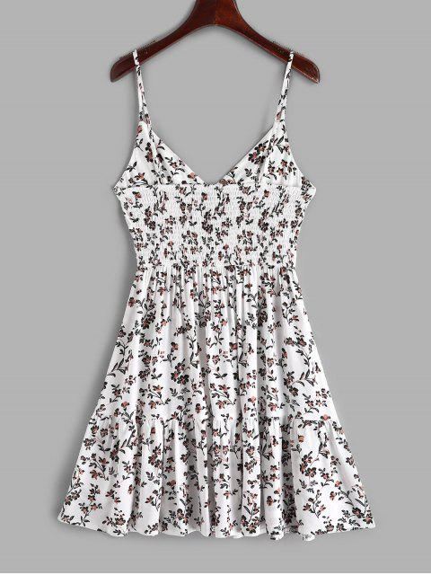 ZAFUL Buttons Floral Print una línea de vestido de Cami - Blanco S Mobile