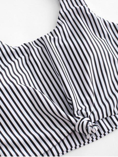 ZAFUL Knot Striped Tankini Swimsuit - Negro XL Mobile