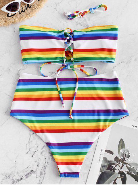 ZAFUL Maillot de Bain Bikini Bandeau Rayé Arc-en-ciel à Lacets - Multi-A L Mobile