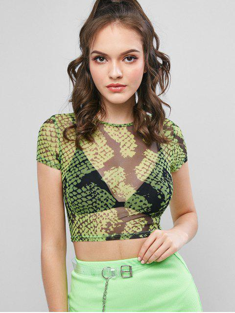 T-shirt Court Serpent Imprimé en Maille Transparente - Vert Serpent M Mobile